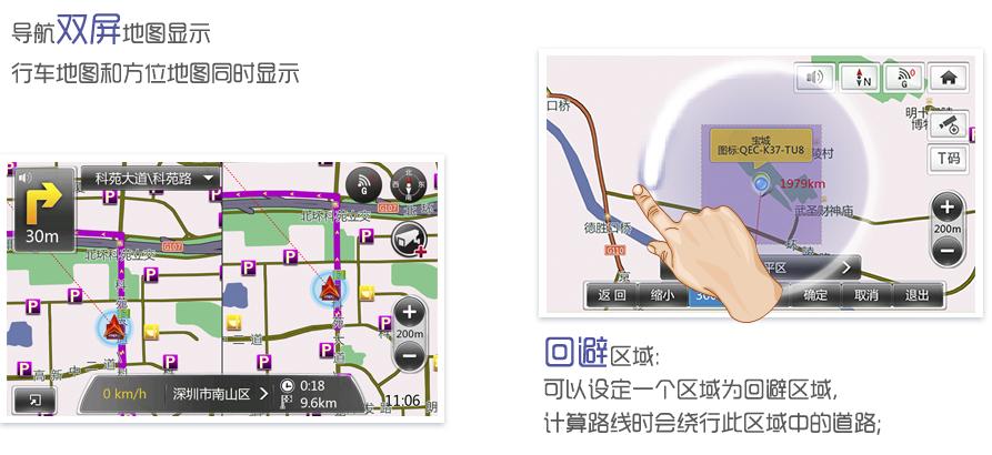 导航双屏地图显示行车地图和方位地图同时显示;回避区域:可以设定一个区域为回避区域,计算路线时会绕行此区域中的道路;